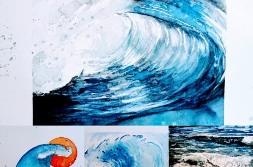 aquarelle de vagues