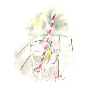 verre à l'aquarelle